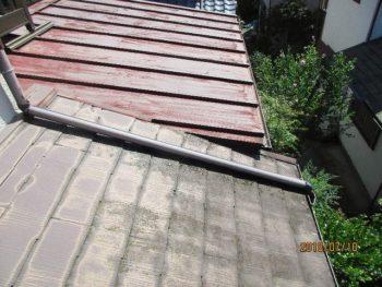 手前は、経年でコロニアル(スレート/カラーベストとも言われる)の屋根に苔が生えてしまいました。奥はトタンの屋根が赤く色あせてしまいました。